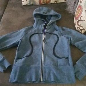 Lululemon blue zipup hoodie w/ skull stitched back